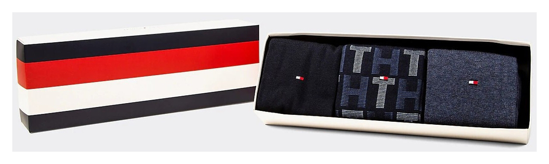 Tommy Hilfiger 3 pacchetti calze TH Men Mixed Stripes Giftbox 3P