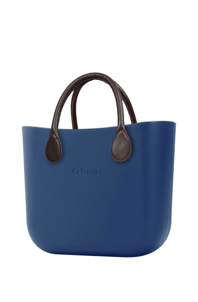 O bag  blu borsetta MINI Bluette con manici in similpelle marrone