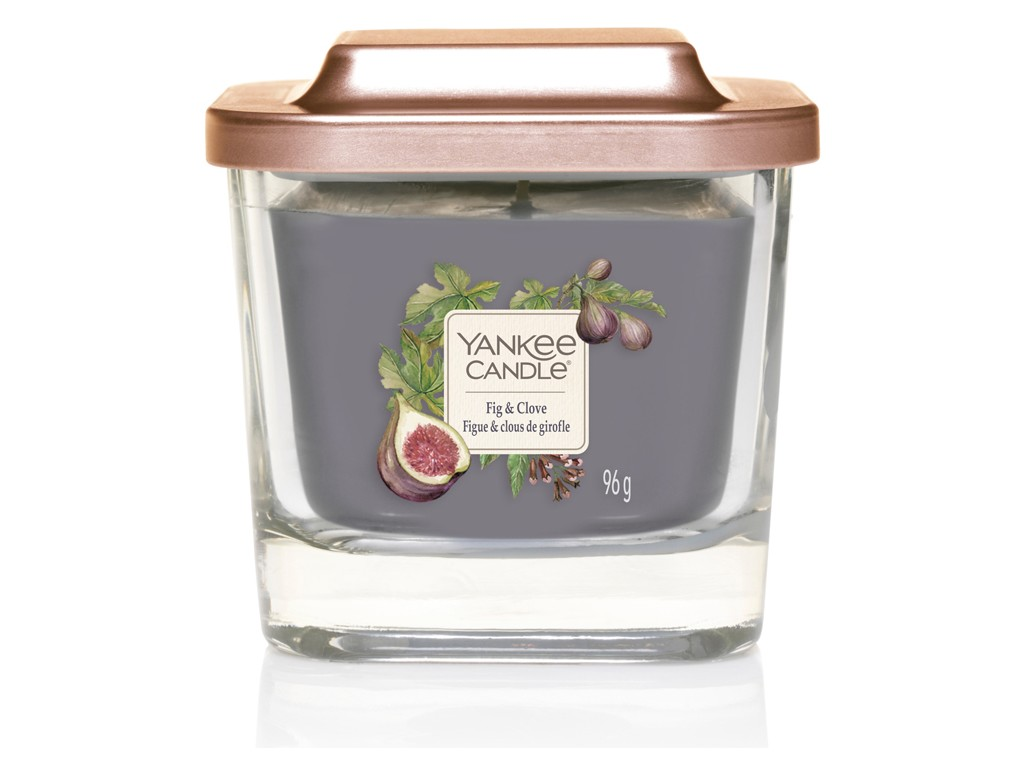 Yankee Candle porpora profumata candela Elevation Fig & Clove quadrato piccolo 1 stoppino