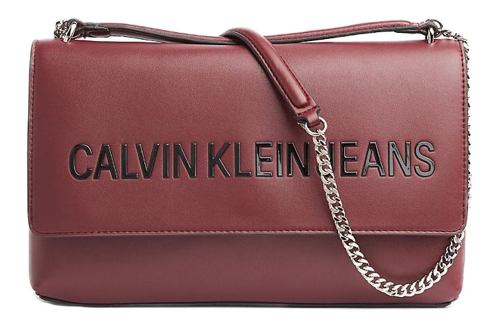 Calvin Klein vino / bordo borsetta Sculpted LG EW Flap Beet Red