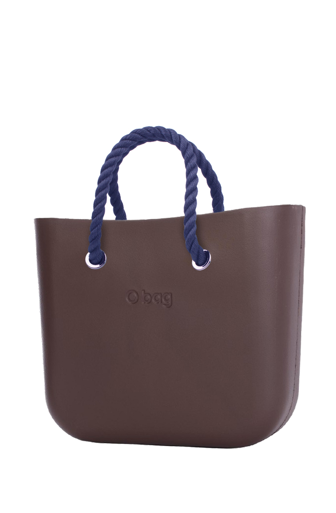 O bag  marrone borsetta MINI Chocolate con corde corte blu scuro