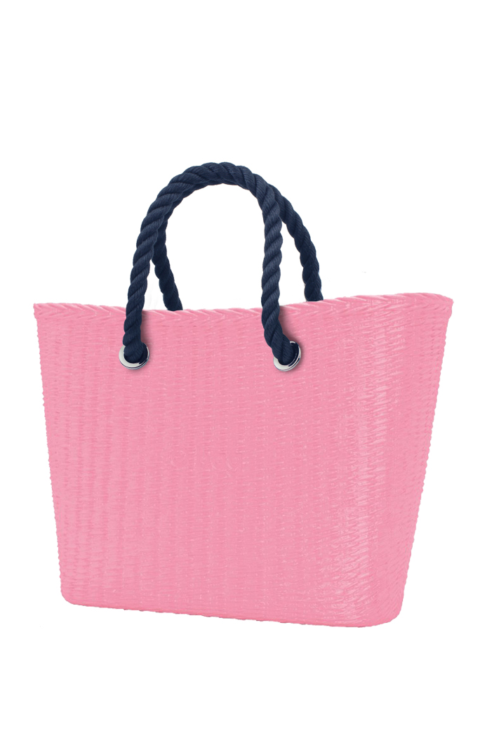 Borsa O bag Urban MINI Pink con manici in corda corti blu scuro