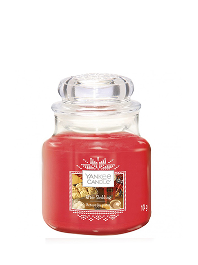 Yankee Candle rosso profumata candela After Sledding Classic piccolo