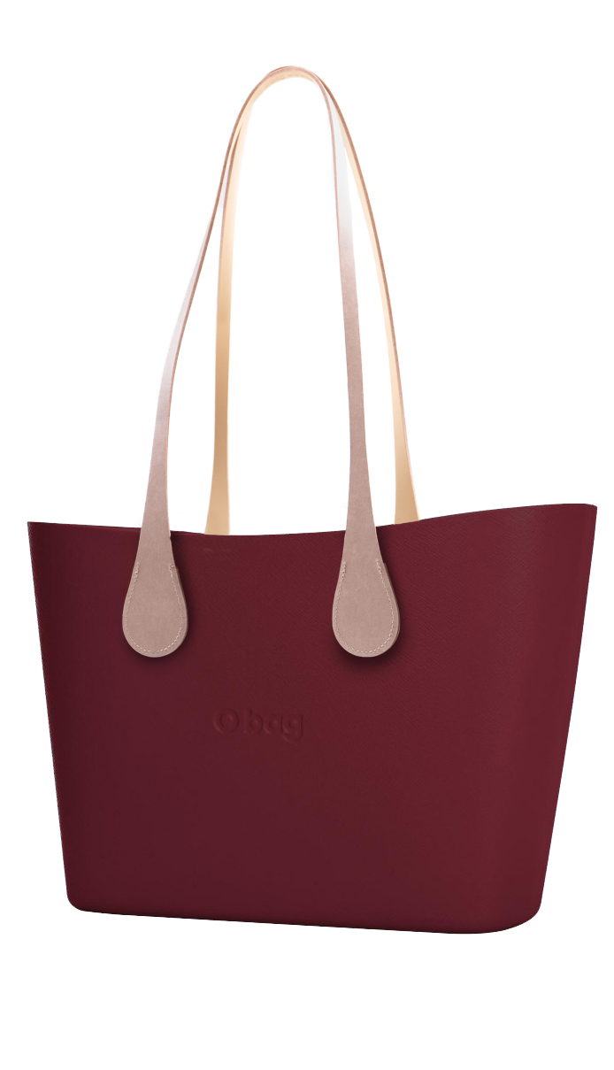 O bag  vino / bordo borsetta Urban Bordeaux con manici lunghi in eco-pelle Extra Slim Ecru