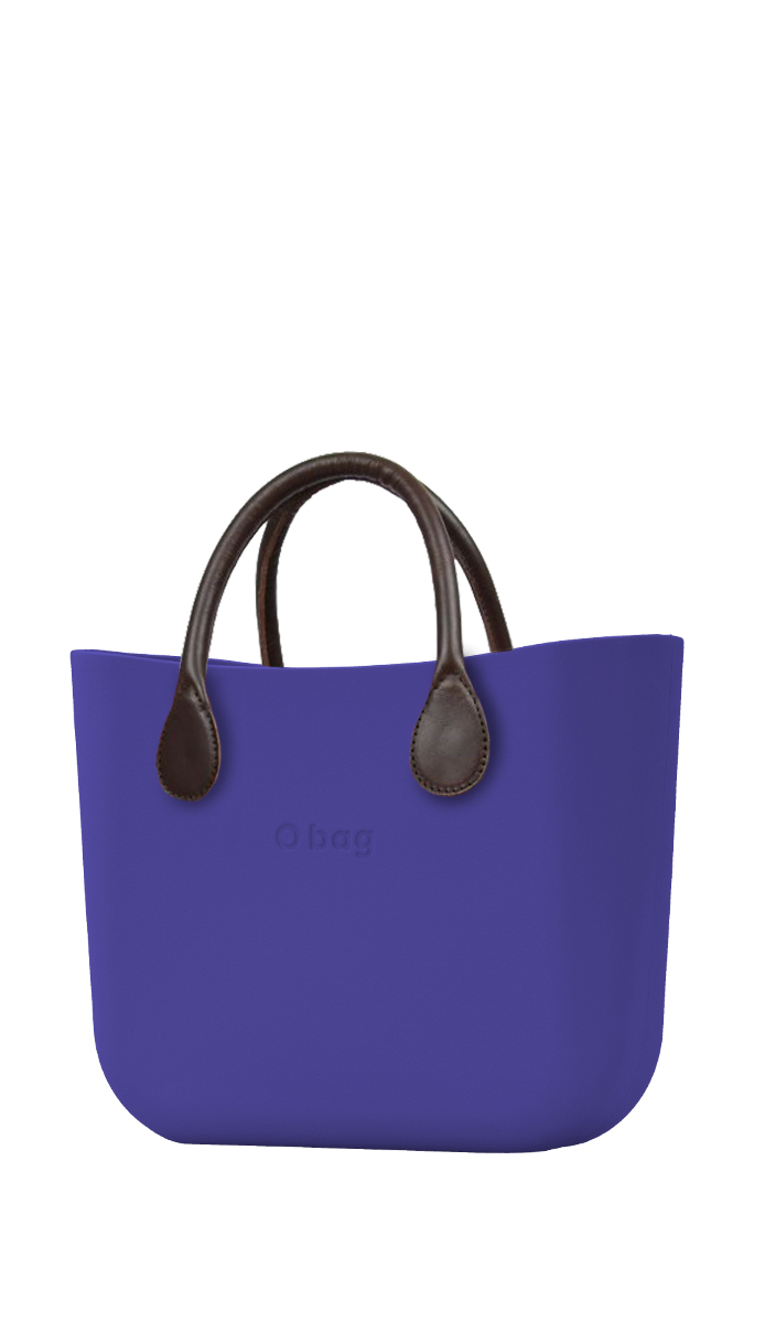 O bag  blu borsetta Iris con manici in similpelle marrone