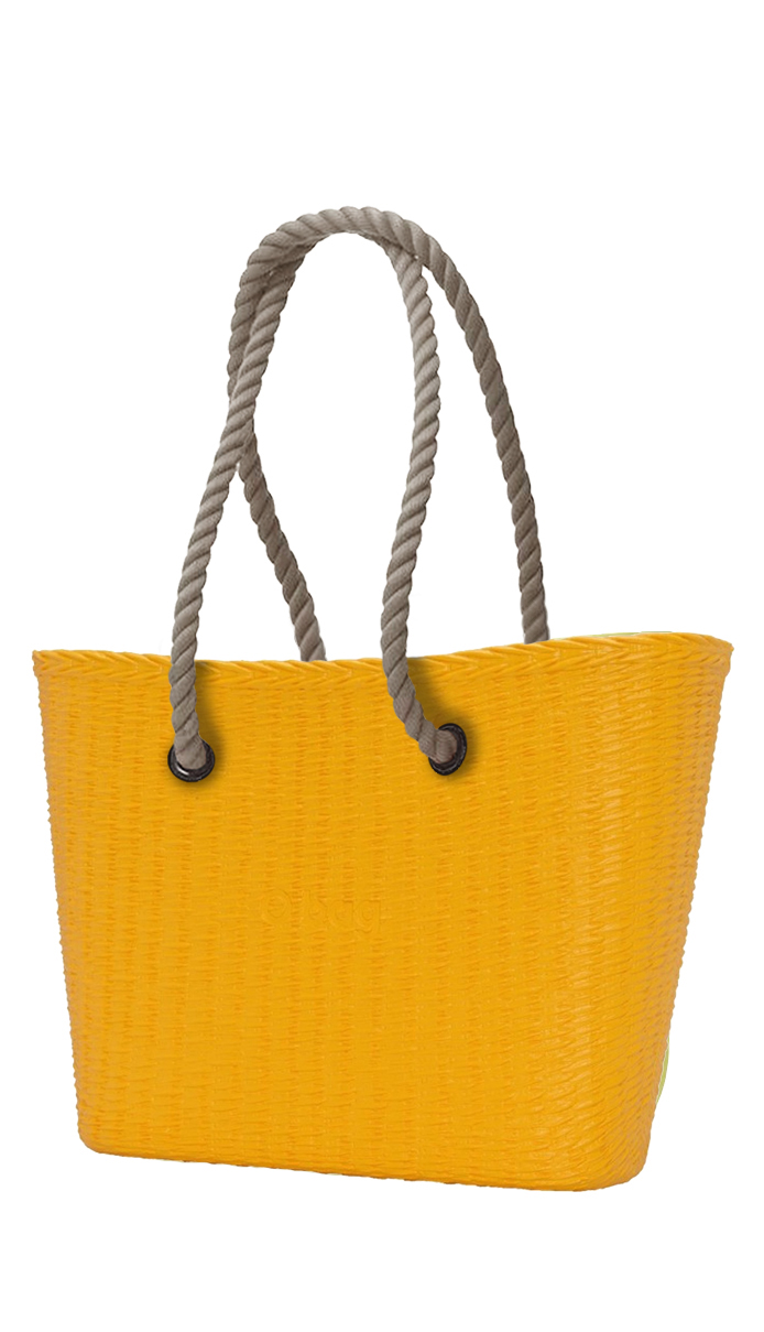 O bag  giallo borsetta URBAN MINI Cedro con corde lunghe natural