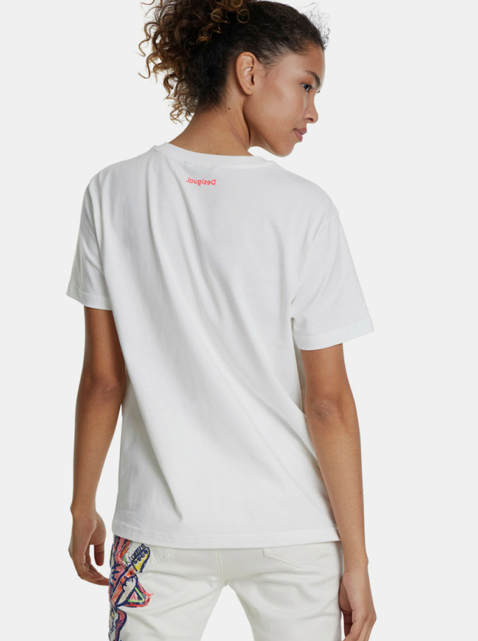 T-shirt bianca con stampa Desigual Love Your Self