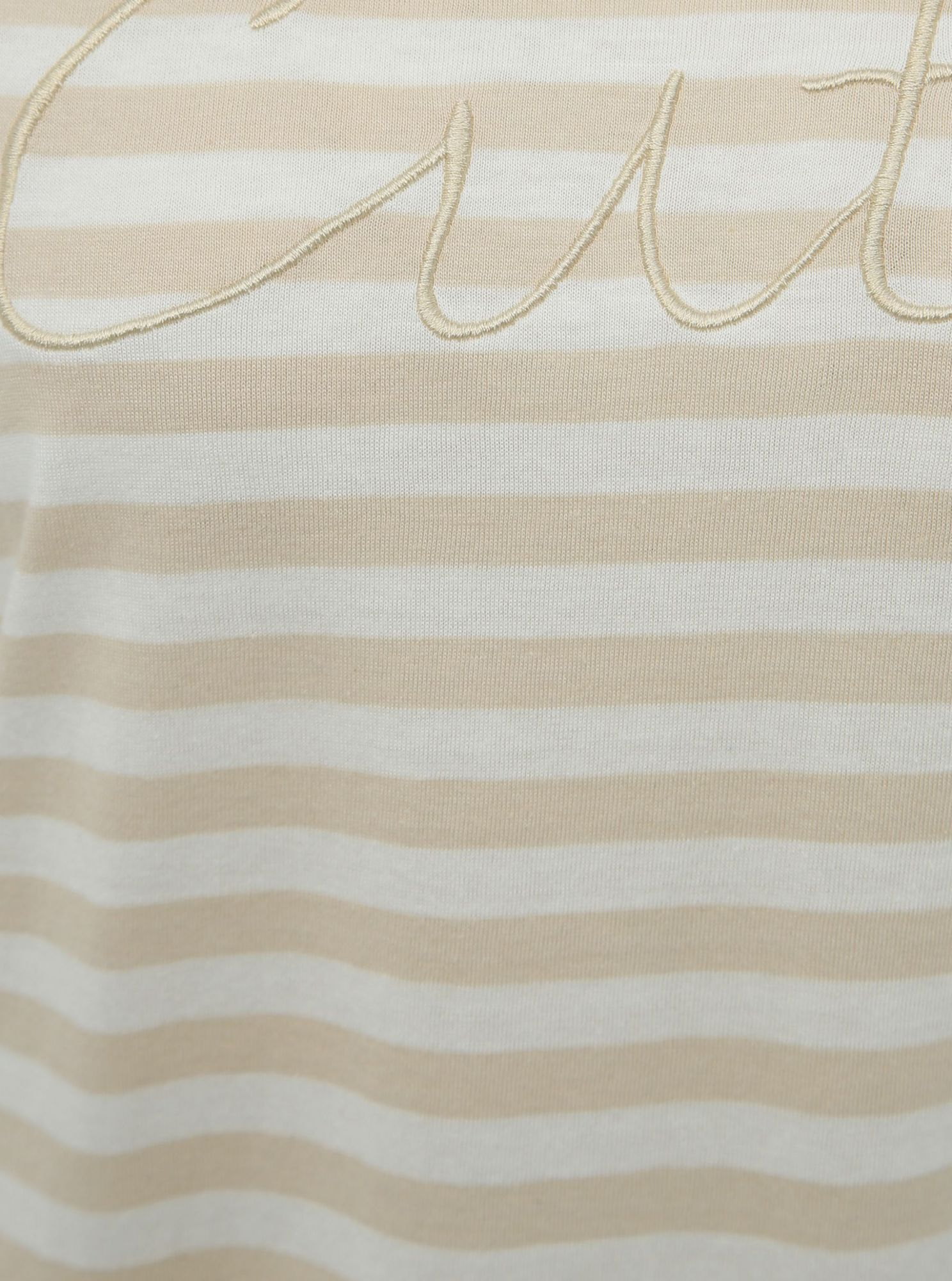 T-shirt a righe beige con ricamo SOLO Rosely