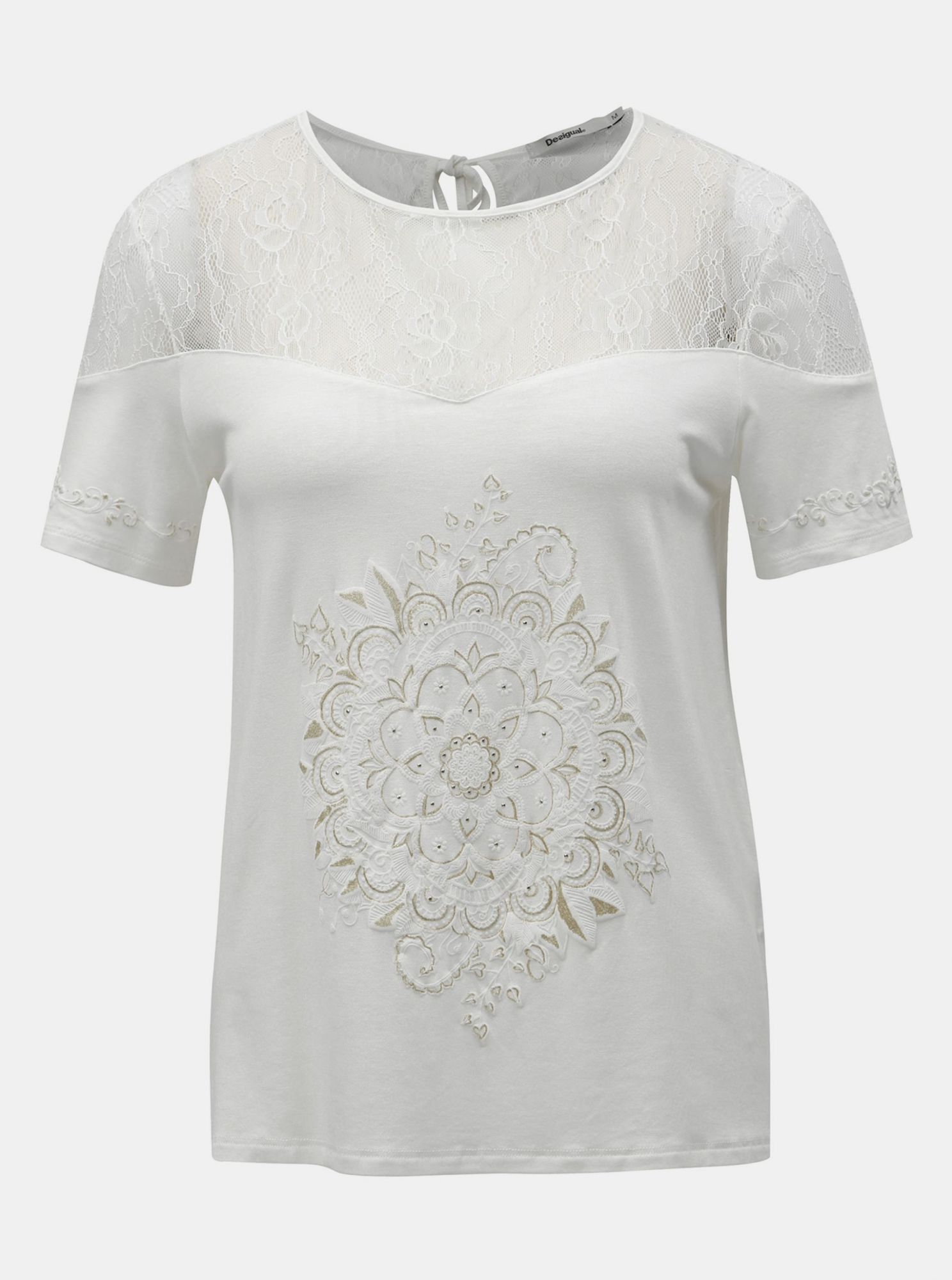 T-shirt bianca con stampa e pizzo Desigual Cannes