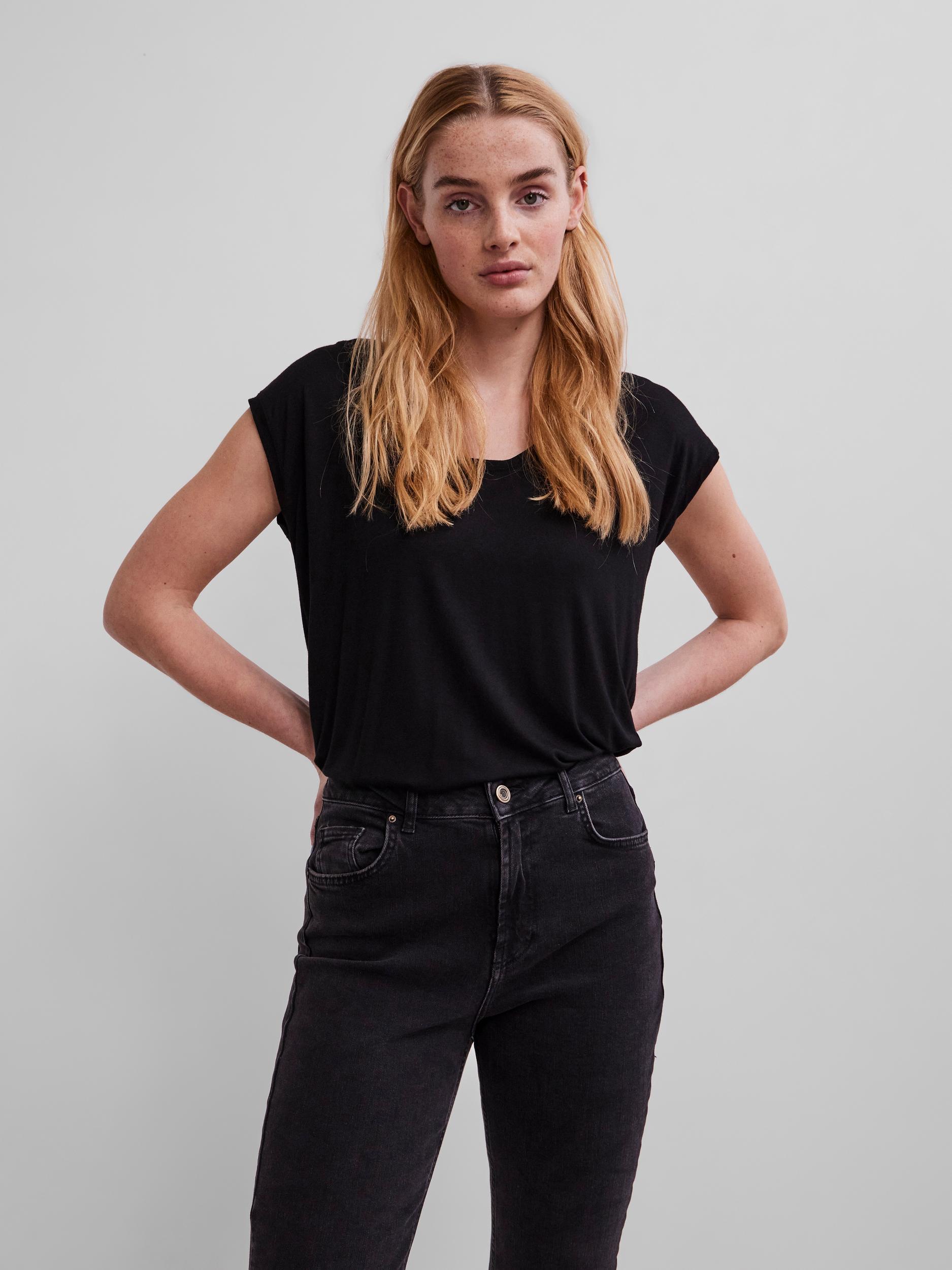 Pieces nero maglietta Billo