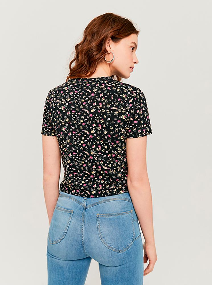 Maglietta corta floreale nera TALLY WEiJL