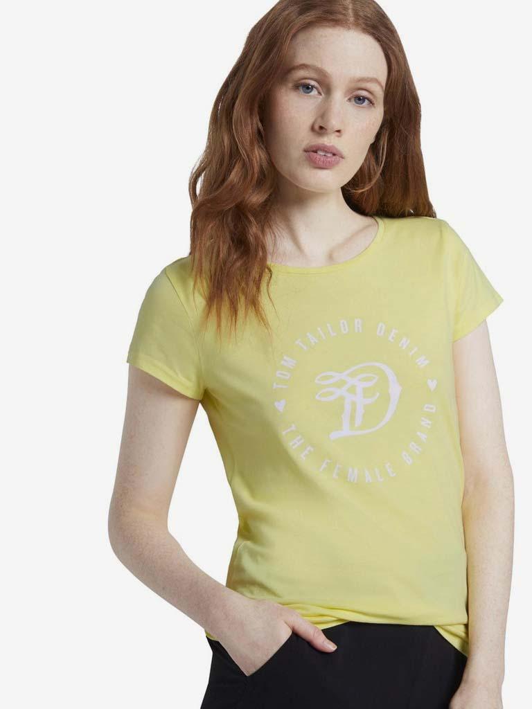 Maglietta gialla da donna Tom Tailor Denim