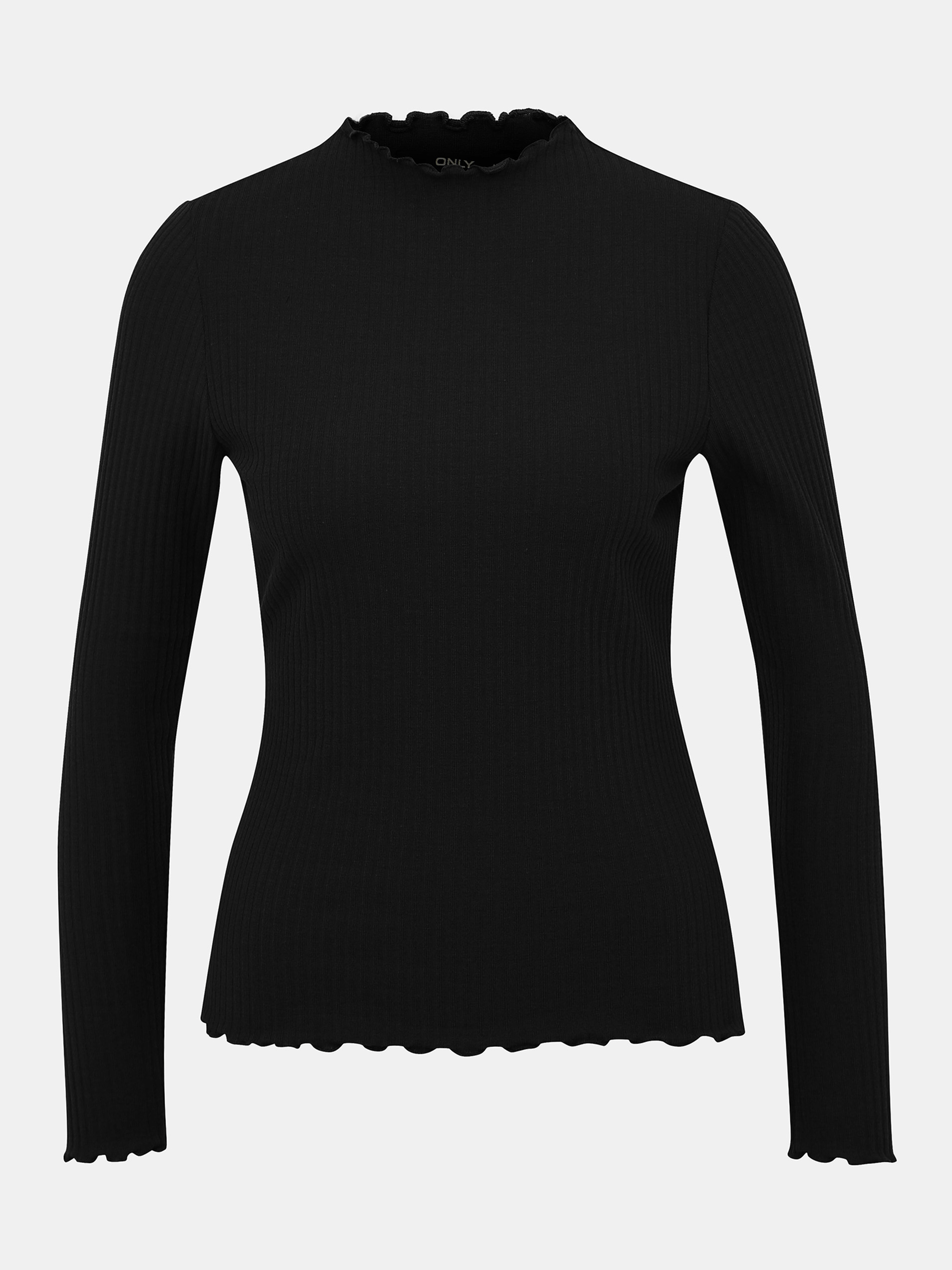 T-shirt nera a costine SOLO Emma