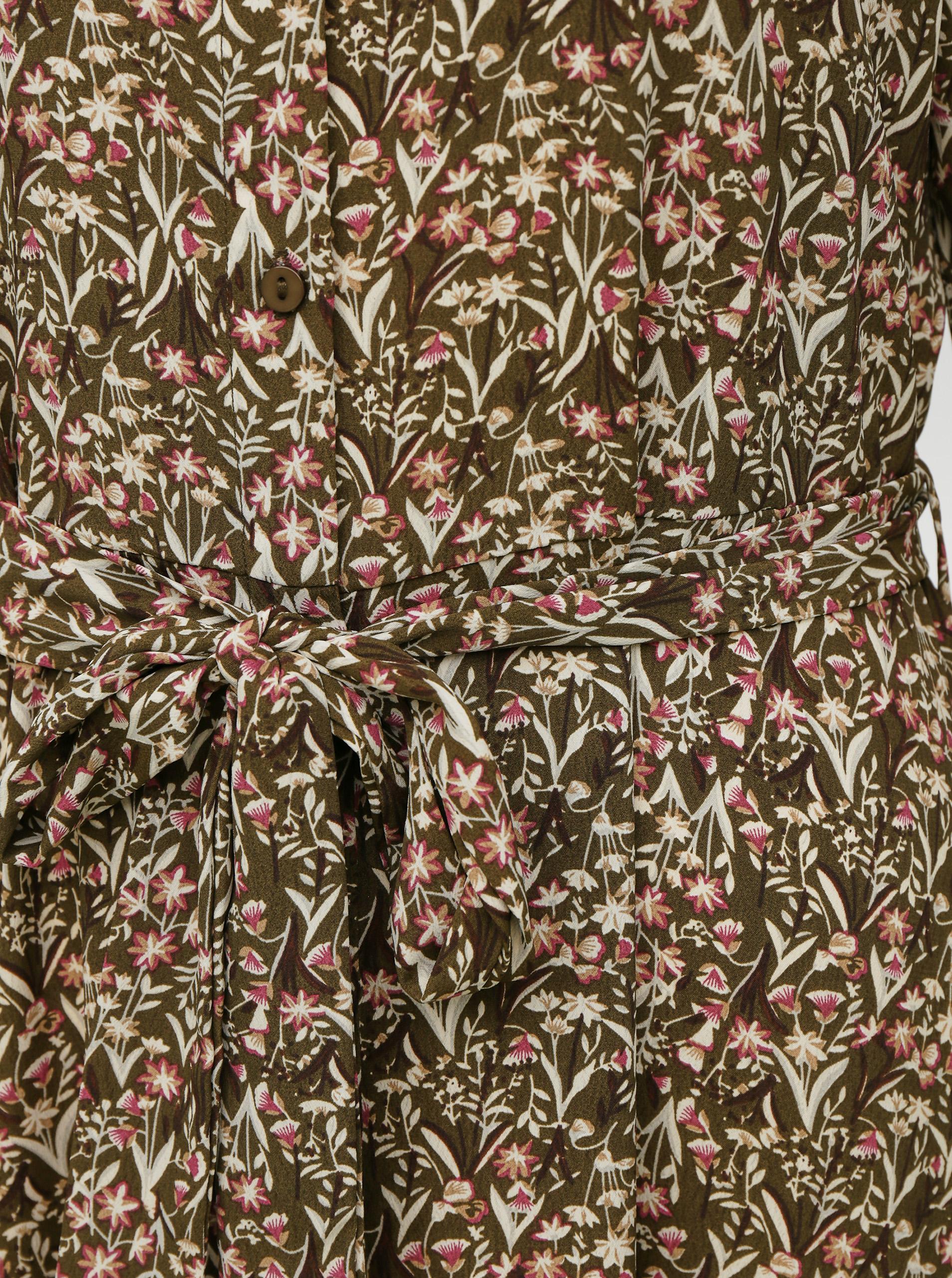 Abito lungo camicia a fiori cachi VERO MODA