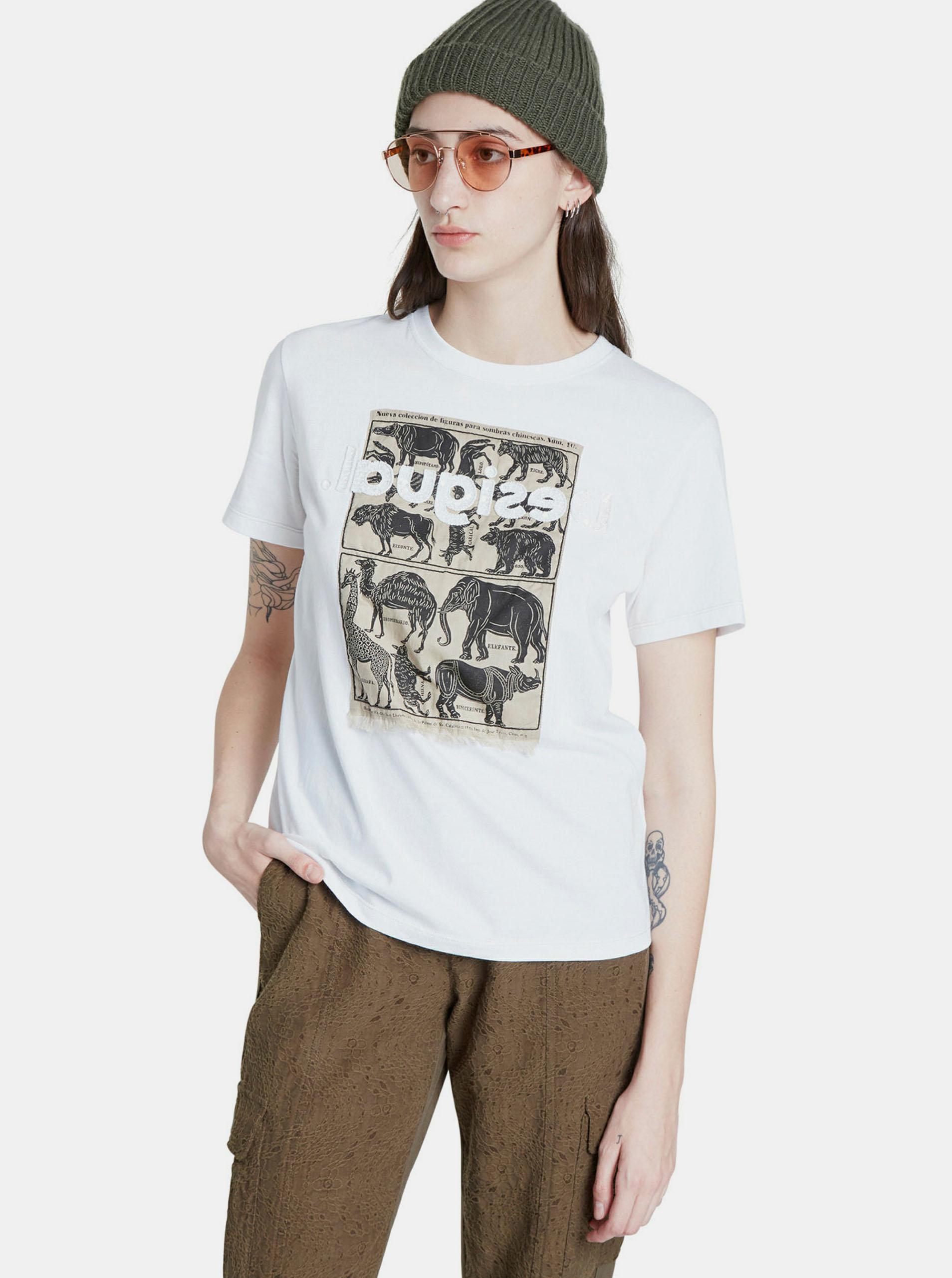T-shirt bianca con stampa Desigual