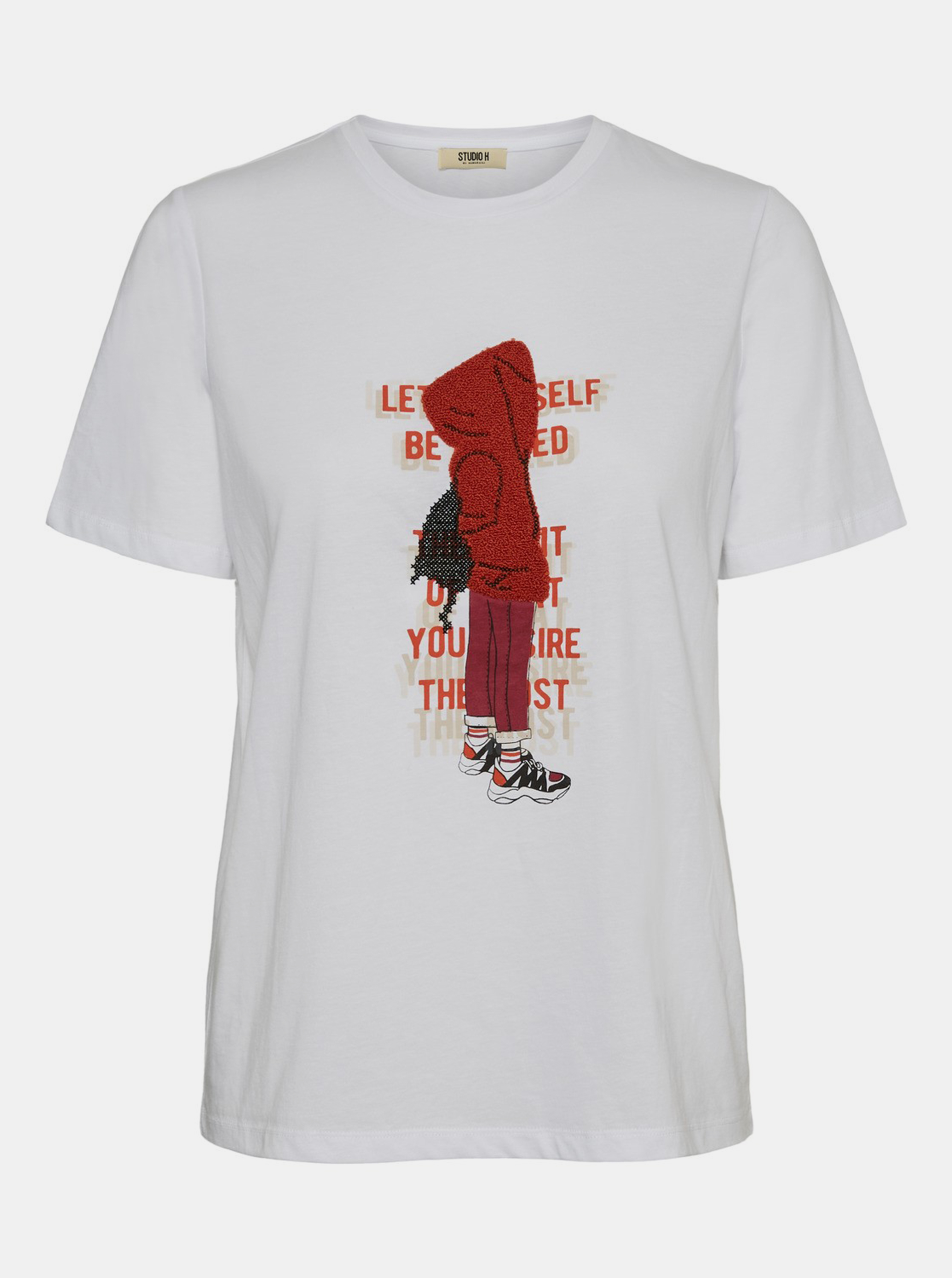 T-shirt bianca con stampa Noisy May Brandy