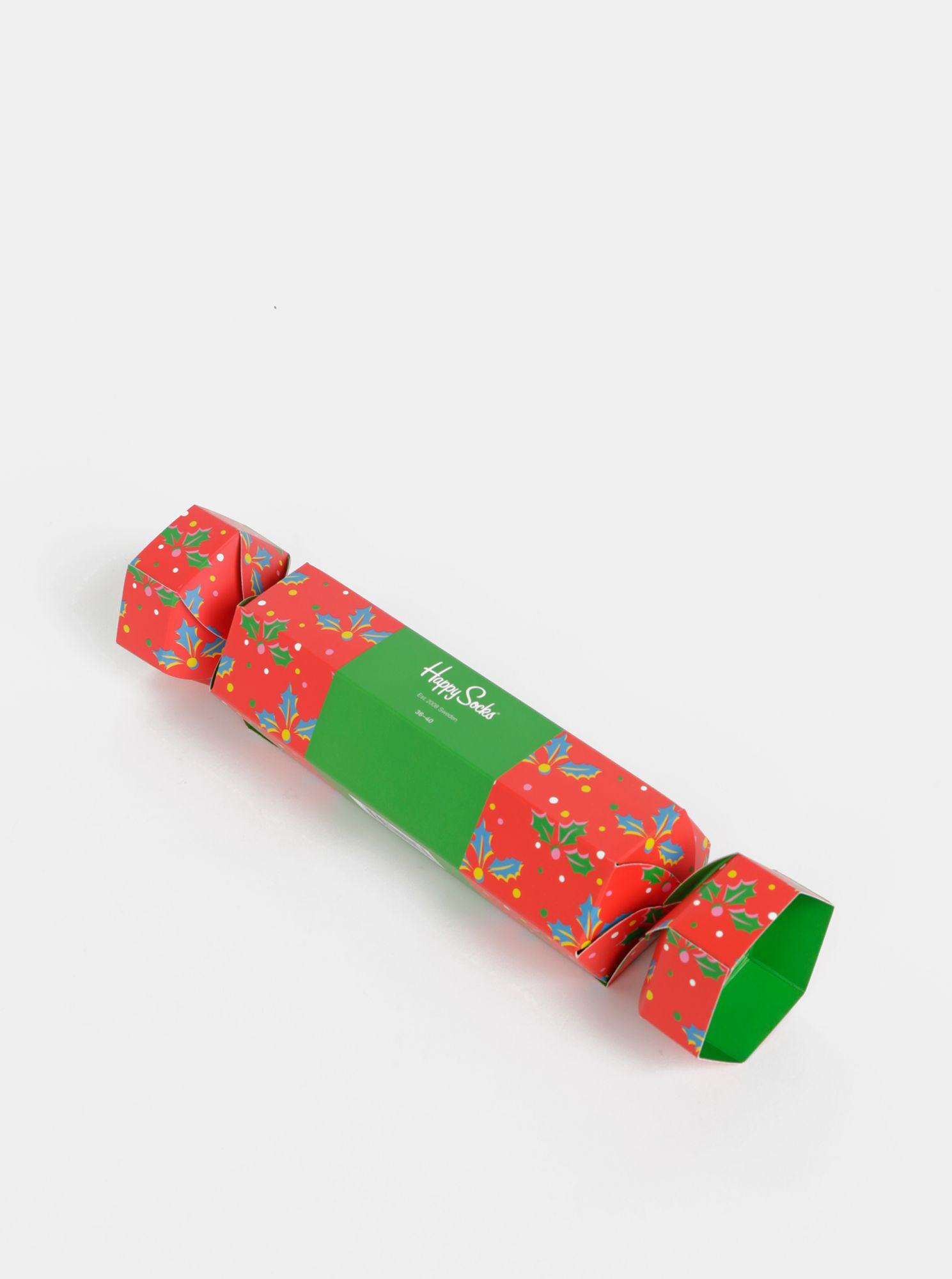 Set di due paia di calzini fantasia in verde e rosso in confezione regalo Happy Socks Christmas Cracker