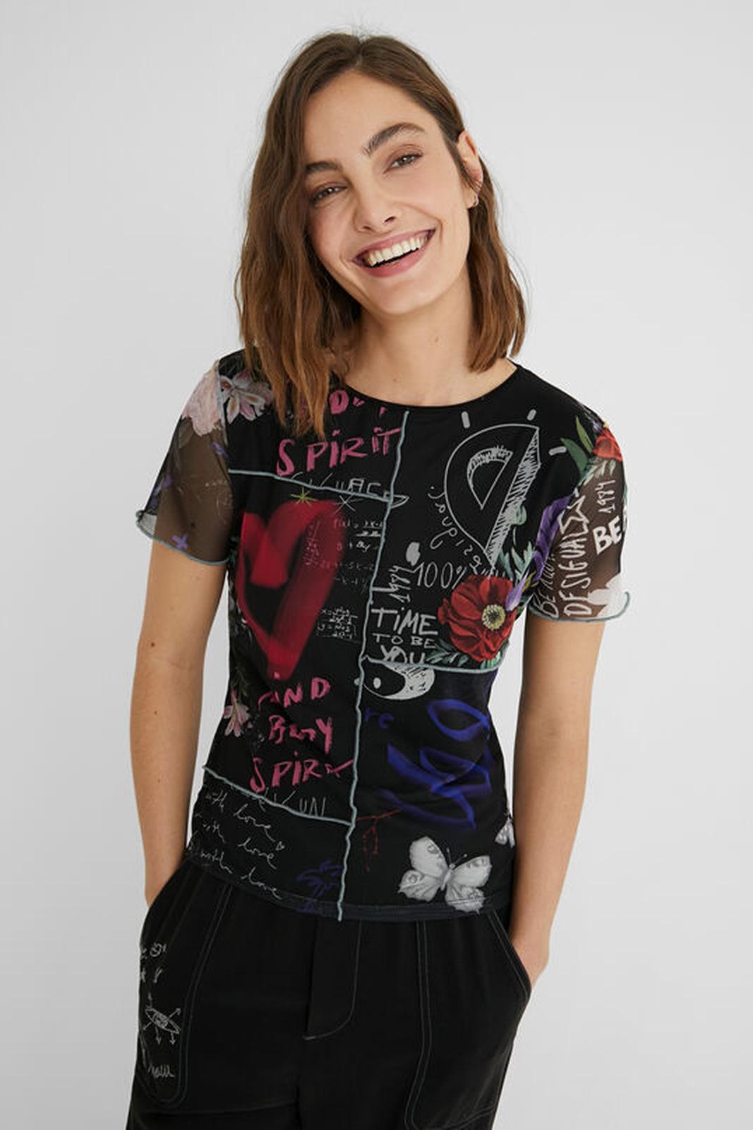 Desigual nero maglietta TS Chicago