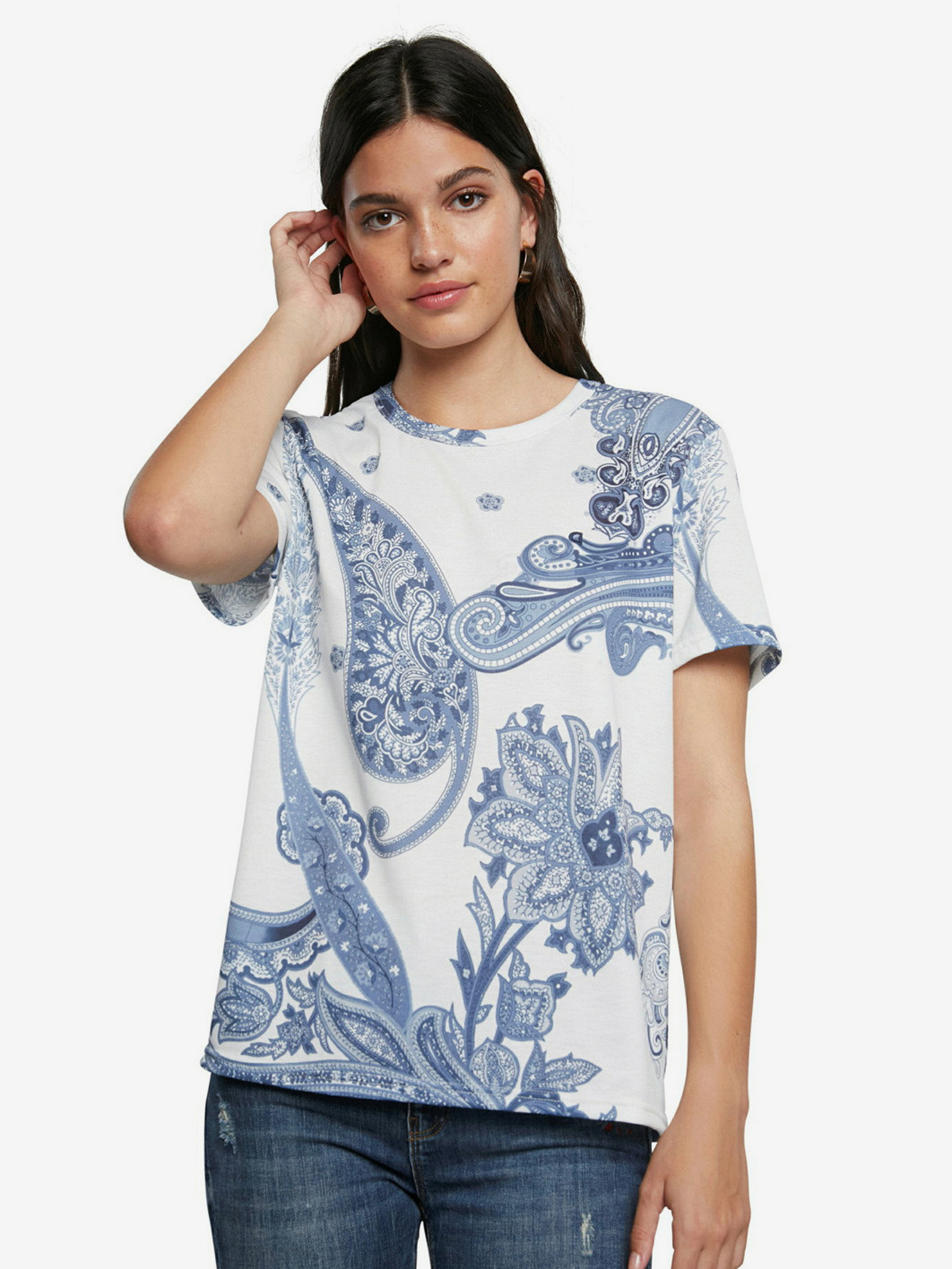 Desigual bianco maglietta TS Popasley