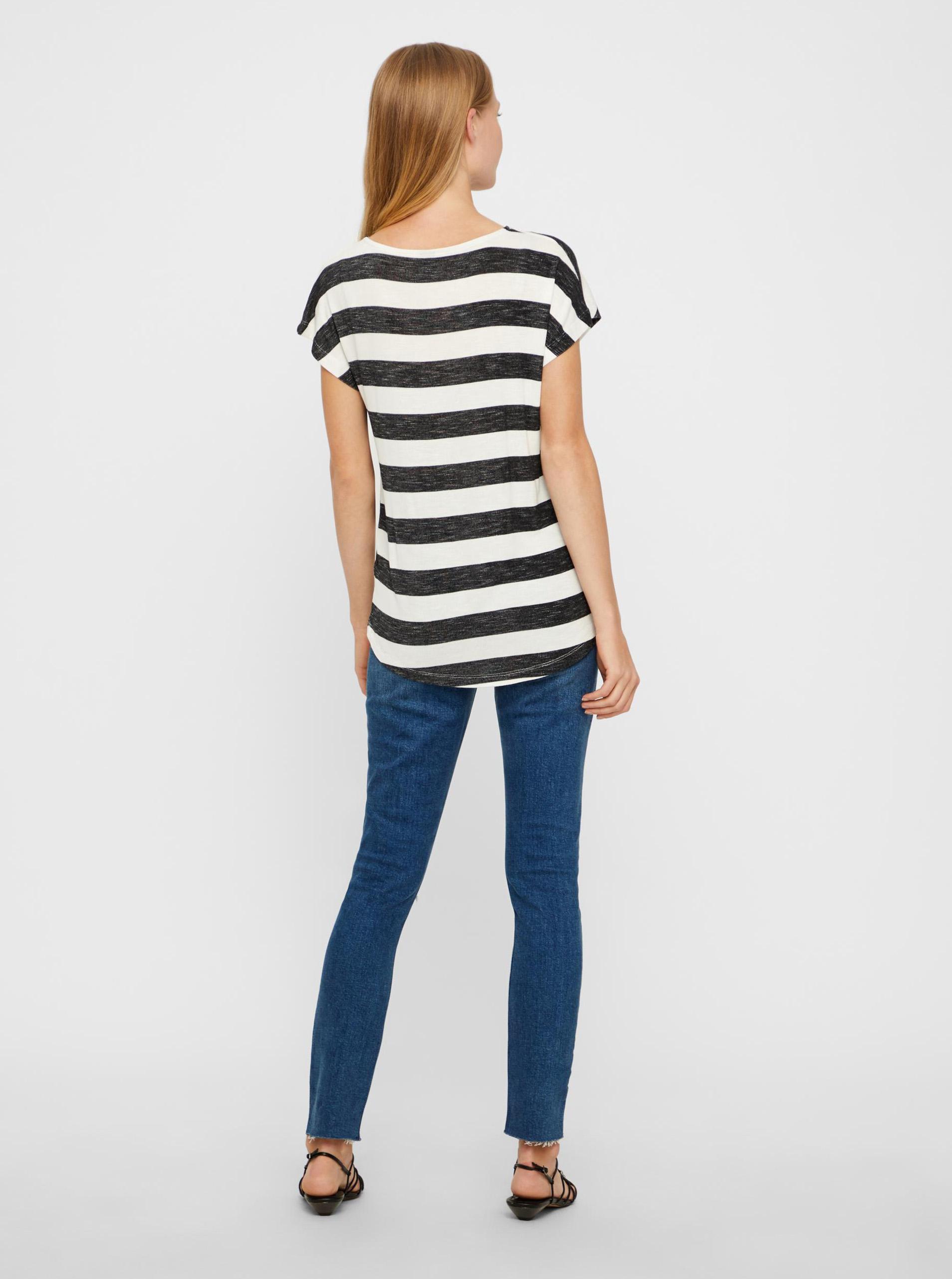 Vero Moda nero a righe maglietta Wide Stripe