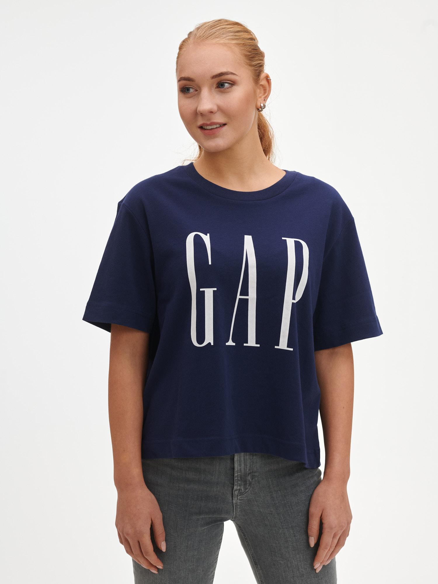 GAP blu maglietta Logo boxy ss