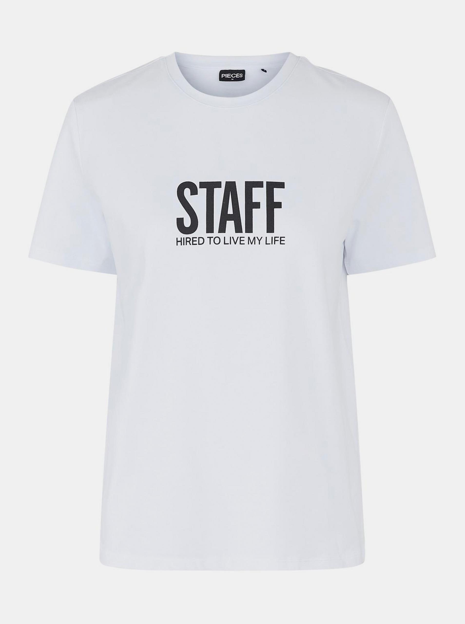 Pieces bianco da donna maglietta con stampa